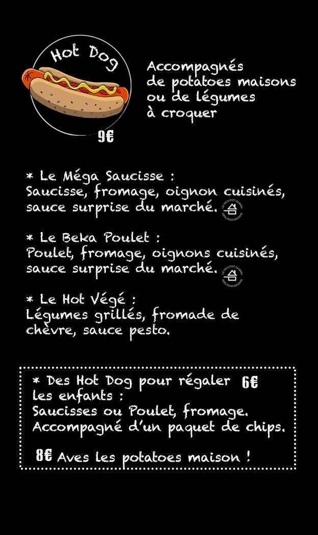 deuxième page du menu